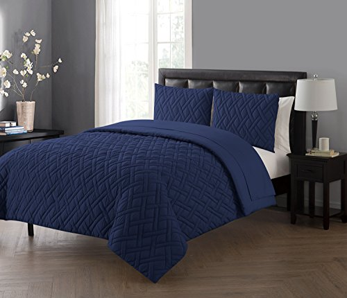 VCNY Home Lattice 7 Piece Bed-In-A-Bag Comforter Set, Full, Navy