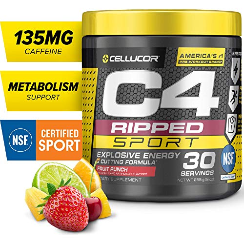 C4 Ripped Sport Pre Workout Powder Fruit Punch | NSF Certified for Sport + Sugar Free Preworkout Energy Supplement for Men & Women | 135mg Caffeine + Weight Loss | 30 Servings