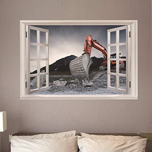 3D Wandbild Fenster Bagger Wandaufkleber Wandtattoo Kunst Poster Vinyl Fototapete für Wandgemälde Wohnzimmer Kinderzimmer Badzimmer Dekoration 50x70 cm