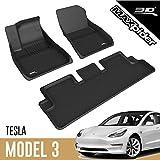 3D MAXpider All-Weather Floor Mats for Tesla Model 3 2020-2021 Custom Fit Car Floor Liners, Kagu Series (1st & 2nd Row, Black)