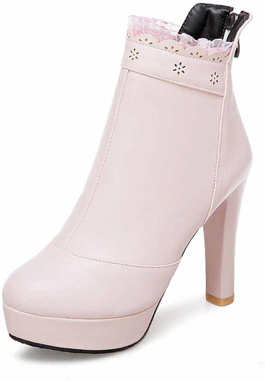 Women Lace Ankle Boots 2018 Autumn Winter High Heel Platform Boots Large Size