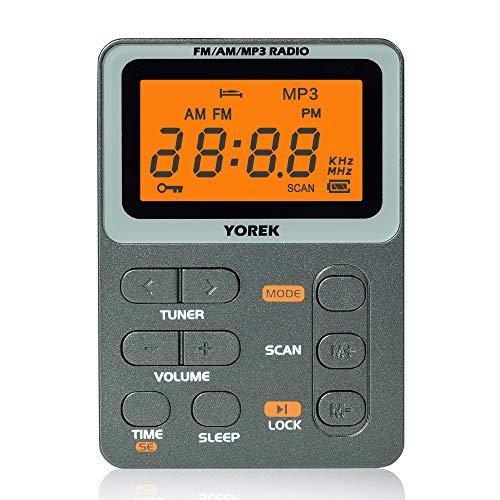 【2021年新モデル】YOREK AM/FM/MP3充電式ポケットラジオ ワイドFM対応FM/AMミニラジオ MP3再生可能 スリープ機能付き小型通勤ラジオ イヤホン付属(日本語取説付き、1年間保証付き)