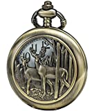 SEWOR Retro Quartz Pocket Watch White Dial Bronze Case with Two Chains Leather & Metal (Reindeer)