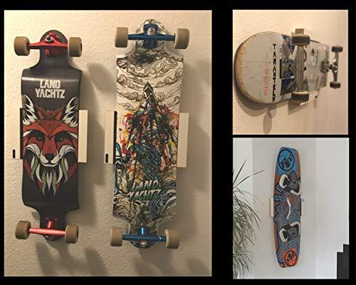 Clipboart® Standard Wandhalterung hoch für Skateboard Longboard Kiteboard Halterung horizontal vertikal diagonal Wandmontage Wandhalter Halter Holz