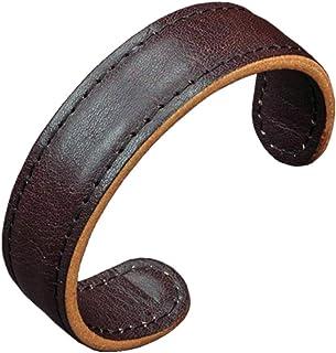 Men Leather Cuff Bangle Bracelet - Elastic Adjustable...