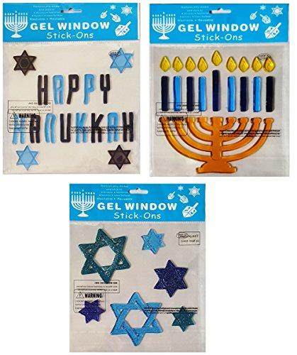 Hanukkah-Chanukah Holiday Window Gel Clings - Star of David, Menorah, and 'Happy Hanukkah' - Pack of 3