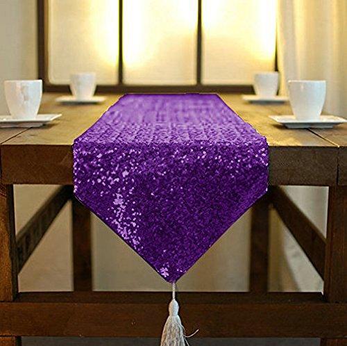 ShinyBeauty Tischläufer mit Quaste schimmerndes 30 x 180 cm mit Glitzer und runden Pailletten, Tischläufer für Party/Hochzeit/Bankett Tischdecke dekorativ (Lila, 30x180cm)