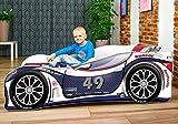 Nobiko Autobett Kinderbett Bett Schlafzimmer Kindermöbel Spielbett 140 X 70 cm 160 x 80 cm 180 X 80 cm Matratze Lattenrost (160 x 80 cm bis 8 Jahre, Navy-White)