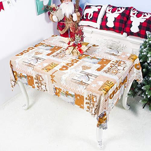 Yiwa tafelkleed, model Cartoon, Kerstmis, wasbaar, 150 x 180 cm, voor feestdecoratie