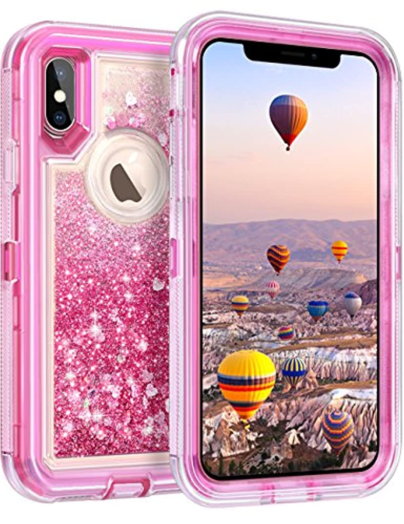 "Coolden Case for iPhone X Case Protective Glitter Case for Women Girls Cute Floating Liquid 3D Quicksand Heavy Duty Hard Shell Shockproof TPU Case for iPhone X 10 5.8"", Pink"