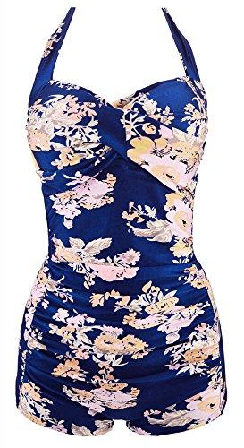 Ebuddy Women Vintage Style Boy-Leg One Piece Ruched Monokinis Swimsuit (Blue Flower, XXL (US16-18))