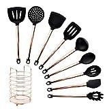 osierr6 Juego de utensilios de cocina de 10 piezas de silicona con mango revestido de cobre, antiadherente, resistente al calor, cuchara de sopa, utensilio de cocina