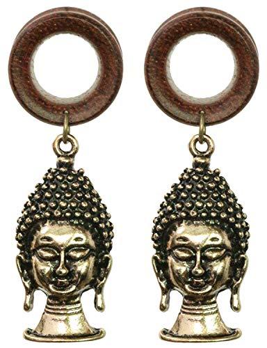 9/16 inch 14mm Brass Buddha Dangle Wood Ear Gauges Piercing Flesh Tunnels Plugs Statement Earrings