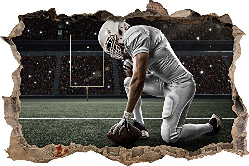 knieender Football-Spieler Wanddurchbruch im 3D-Look, Wand- oder Türaufkleber Format: 92x62cm, Wandsticker, Wandtattoo, Wanddekoration