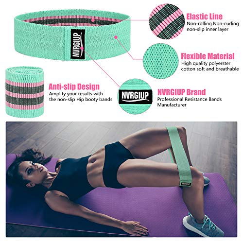Product Image 2: NVRGIUP Exercise Resistance Bands for Legs and Butt, Upgrade Thicken Anti-Slip & Roll Home Gym Workout Booty Bands, Wide Fabric Loop Thigh Glute Bands Set for Women with Ebook & Video