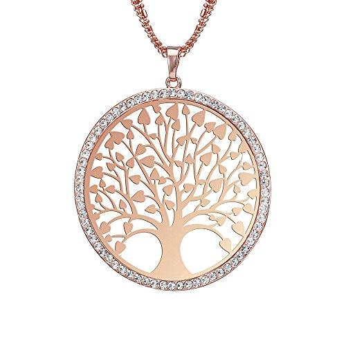 Collana Donna di Moda, Collana a Forma di Ciondolo Albero della Vita celtica per Ragazze Collana a Catena Lunga con Cristallo (Oro Rosa)