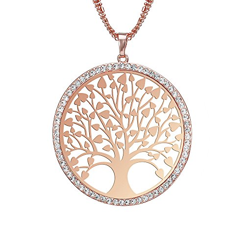 Ouran Fashion Women's Necklace,Celtic Tree of Life Pendant Necklace for Girls Long Chain Coat Necklace with CZ Crystal Shining Rhinestone Necklace (Rose Gold)