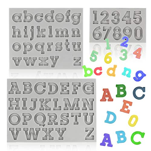 Palksky 3pcs Letter Molds, Silicone Numbers Alphabet Fondant Molds for Making Uppercase Lowercase Chocolate, Baking Cake Decoration, Candy, Epoxy Resin Texture Letter A-Z/0-9 DIY Crafts