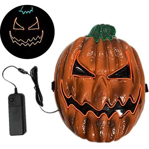 Halloween Maske Scary LED Leuchten Kürbis Gesichtsmasken Mit EL Draht Halloween Kostüm Cosplay Masken Für Erwachsene Frauen Kinder Kinder Halloween Kostüm Party Dekorationen,Gelb