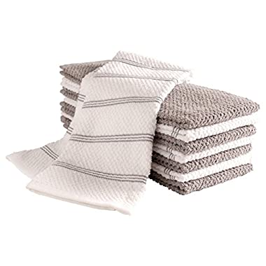 KAF Home Pantry Piedmont Kitchen Towels (Set of 8, 16x26 inches), 100% Cotton, Ultra Absorbent Terry Towels - Light Grey