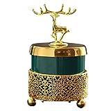 ZWWZ Ciervos de Oro creativos Que fuman cenicero de cerámica con Marco de Metal Soporte de Ceniza a Prueba de Viento para Cigarrillos Decoración de la Oficina en casa MISU