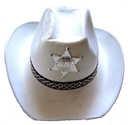 Mondial-Fete - 6 Chapeaux shérif Country Blancs