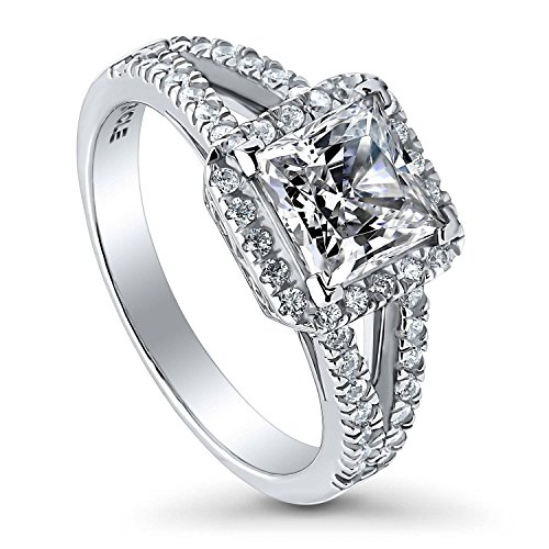 BERRICLE Rhodium Plated Sterling Silver Princess Cut Cubic Zirconia CZ Halo Promise Wedding Engagement Split Shank Ring 2.1 CTW Size 8