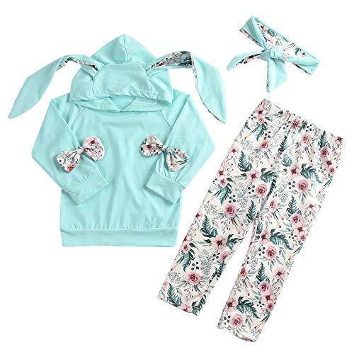 URMAGIC 3PCs Neonata Manica Lunga Completini T-Shirt con Cappuccio a Manica Lunga + Pantaloni a Fiori + Fascia per Capelli per 3-24 Mesi