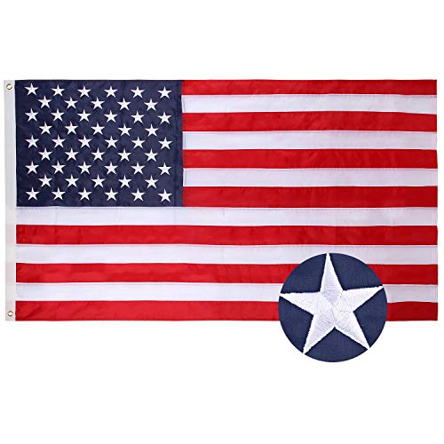 SIX FOXES American Flag 3x5 ft Heavyweight US Outdoor Flag  UV Protected Embroidered Stars Sewn Stripes DoubleStitched Edges Brass Grommets Tough Durable Fade Resistant All Weather US Flags