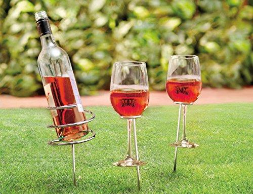 Camping Picknick Spiral Spike Weinflasche und Glas Halter - Submergible Cooler