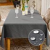 BALCONY & FALCON Mantel Impermeable Mantel Rectangular de Cocina para Mesa Fiesta Navidad (Gris Clásico, 145x300cm)