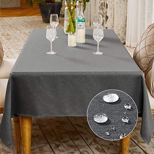 BALCONY & FALCON Tischdecke Abwaschbar Leinen-Optik Tischtuch Leinen Tischdecke Pflegeleicht Lotuseffekt Wasserdicht Tischdecke Tischdekoration (Grau, 140 x 180 cm)