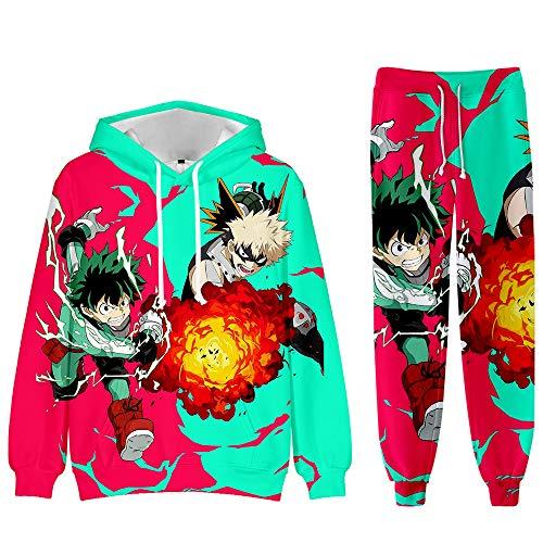 XSHUAISIJI MHA 2-Teiliges Set My Hero Academia Bakugou Katsuki 3D Druck Unisex Zeichentrick-Anime-Charakter Pullover Hoodie und Sweatpants Anzug für 2-teiliges Outfit Mode Sweatshirt Set