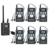 EXMAX EXG-108 DSP Stereo Wireless Headsets FM Radio Broadcast System for Tour Guide Teaching Meeting Training Travel Field Interpretation 1 Transmitter & 6 Receivers (Gray)
