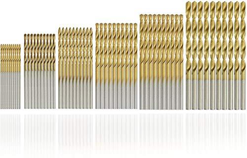 SYCEES 60pcs HSS Micro Drill Bit Set, 1mm, 1.5mm, 2mm, 2.5mm 3mm, 3.5mm High Speed Steel Titanium Coated Metal Twist Drill Bit Set Tools