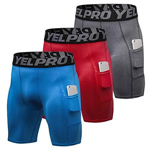 Lixada 3PCS Pantalones Cortos de Compresión para Hombre, Pantalones Cortos de Entrenamiento con Bolsillos