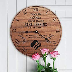 Girl Scout Decor Wall Clock Quality Quartz Silent Clock 12Inch Round Clock Roman Numerals Retro Style Decor for Living Room Bedroom Office Festival Birthday Gift