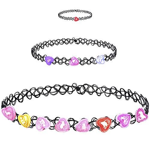 BodyJ4You 3PC Choker Necklace Ring Set Henna Tattoo Stretch Elastic Heart Pink Teen Girl Women Fashion