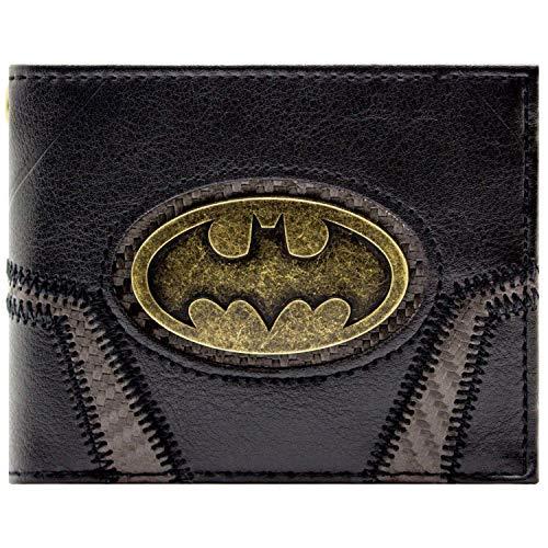 Cartera de DC Batman Placa de Oro Suit Up Negro
