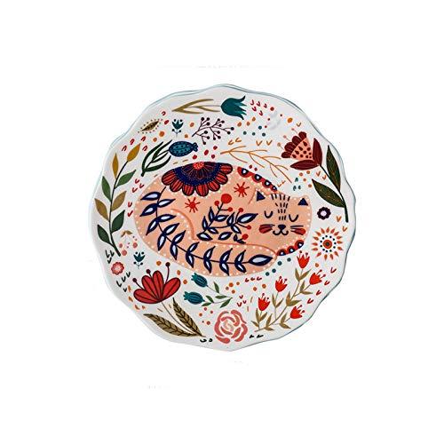 Platos Llanos Placas De Porcelana De 8 Pulgadas con Patrón Pintado A Mano, Placa De Fruta De Postre Delicadamente Diseñada, Lavavajillas Y Microondas. Platos de Comida (Color : E, Size : 2pack)