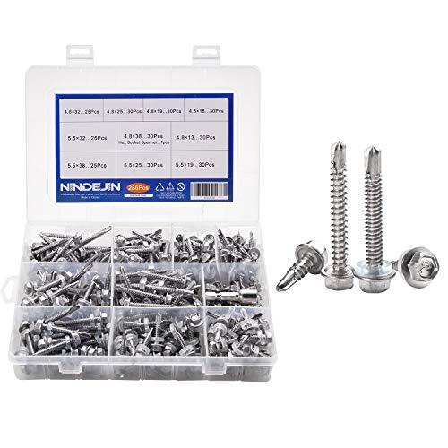 NINDEJIN M4.8 M5.5 Self Drilling Screws Assortment Kit Hex Washer Head Screws & Hex Socket Spanner, 410 Stainless Steel, 286pcs