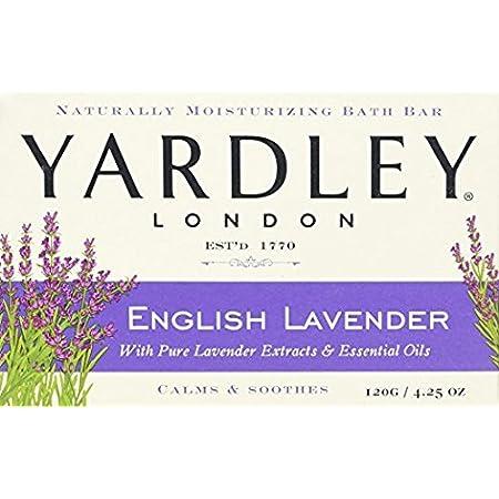 Yardley London English Lavender with Essential Oils Soap Bar, 4.25 oz Bar, Pack of 3, 12.75 Oz