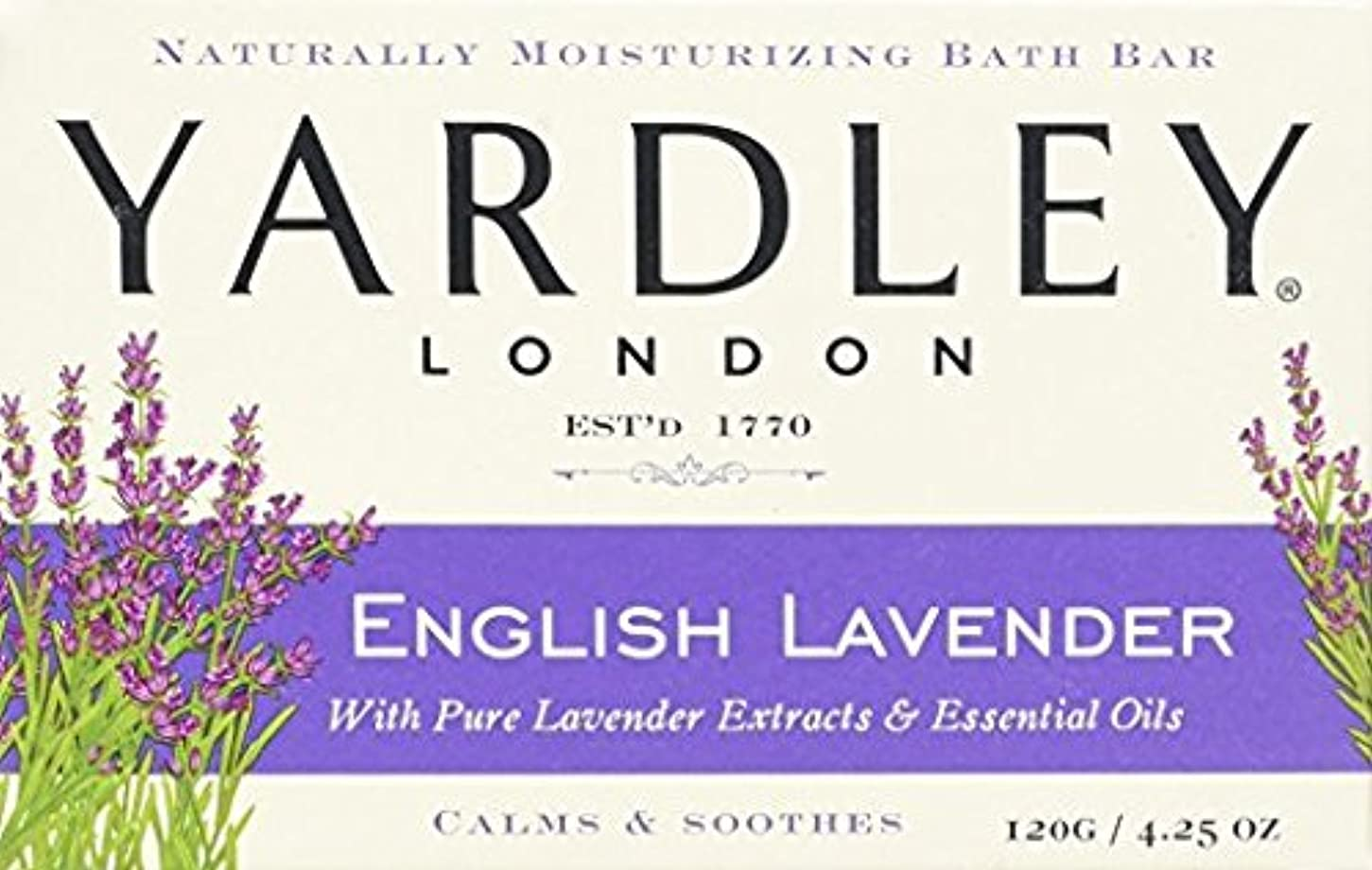 学んだ熱保育園海外直送品Yardley Yardley London Naturally Moisturizing Bar Soap, English Lavender 4.25 oz (Pack of 2)