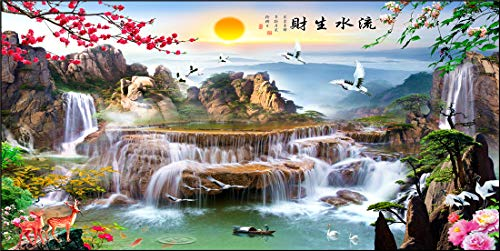 5D DIY Diamond Painting Kits Round Full Drill Set Adults Waterfall crane mountain Diamond Arts Crystal Rhinestone Embroidery Painting Pictures Cross Stitch Canvas Craft Home Wall Decor 40x80cm 16x32in