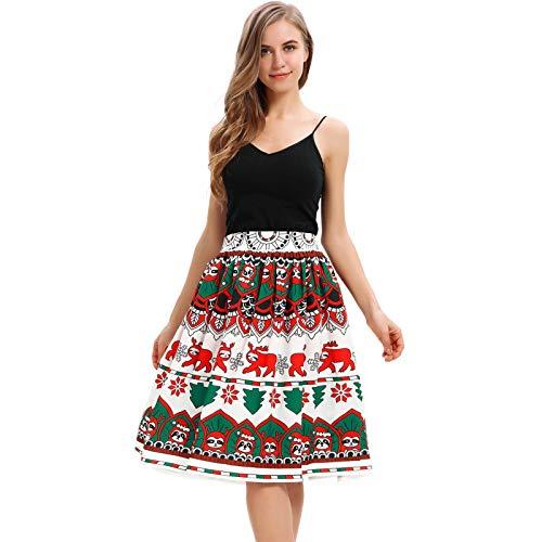 GOKOMO Frauen Casual Christmas Santa Flare elastische hohe Taille Cosplay Ballkleid RockKnielanger Rock für Damen mit Weihnachtsmotiv(G,Small)