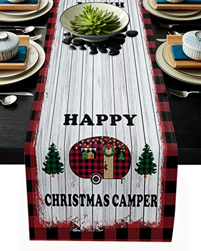PIEPLE Cartoon Red Camper with Christmas Tree Gnome Cotton Linen Table Runner Baby-Shower, Wood Board Red Plaid Rectangle Tabletop and Dresser Scarves for Wedding/Picnic/Banquet 13' x 70'