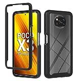 Liner Hülle für Xiaomi Poco X3 Pro/Poco X3 NFC, Durchsichtig Stoßfest Handyhülle Robuste Silikon Schutzhülle Schwer PC & Weich Schlank TPU Bumper Hülle Cover für Xiaomi Poco X3 Pro - Schwarz/Klar