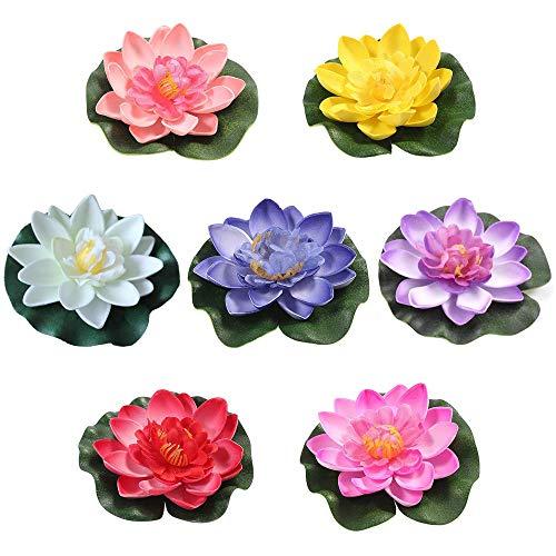 7 Pièces Artificielle Nénuphar Flottant Lotus étanche Fleur de Lotus Étang Maison Mariage Décor Plantes d'Aquarium Décorations d'aquarium de Plantes Plantes Artificielles d'aquarium 7 Couleurs 10cm