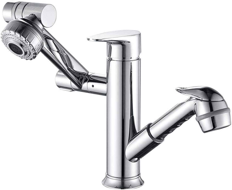 ZTMN Kupfer Wasserhahn kann gezogen und gedreht Werden Teleskop Wasserhahn Becken heien und kalten Wasserhahn Badezimmer Waschbecken Dusche Wasserhahn
