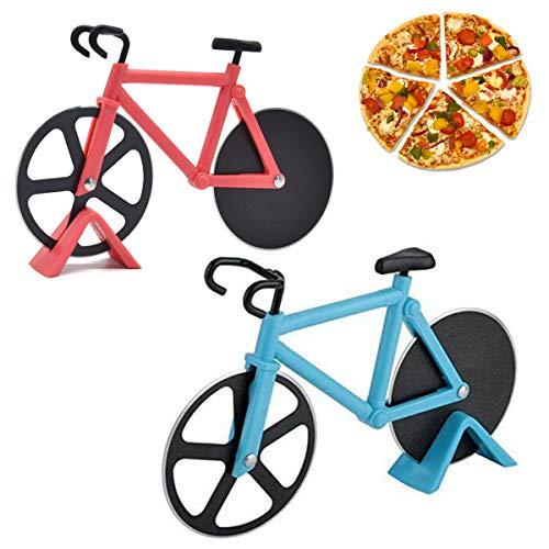 MOTZU 2 Pack Pizzaschneider Edelstahl,Pizzaschneider Fahrrad,18,5 X 11,5cm Pizzaroller mit Ständer,Dual Bike Cutter Antihaftbeschichteter Pizza Schneider,Radfahr Fan Pizza-Liebhaber Geschenk,ROT+Blau
